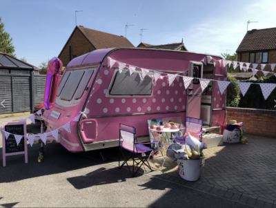 A Bright Pink Party Caravan